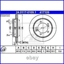 ATE 2x Disques de Frein Ventilé 24.0117-0109.1