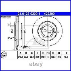 ATE 2x Disques de Frein Ventilé 24.0122-0200.1