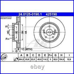 ATE 2x Disques de Frein Ventilé Recouvert 24.0125-0190.1