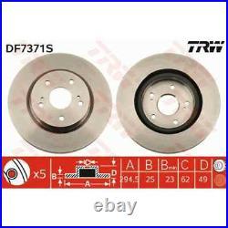 TRW 2x Disques de Frein Ventilé Peint Noir DF7371S